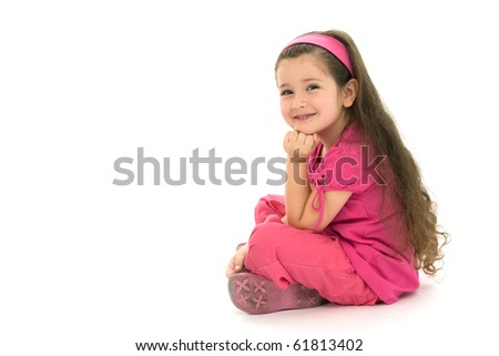 Portrait of the little girl on a white background
