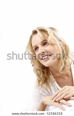 Portrait of the lovely girl on a white background - stock photo