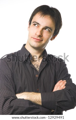 Portrait of the man looking upwards - stock photo
