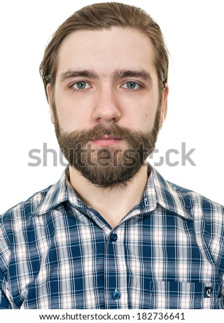 portrait of the man with a beard - stock photo