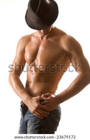 Portrait of the man with a naked torso - stock photo
