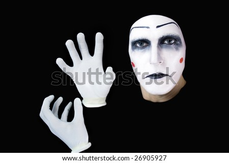 portrait of the mime isolated on black background