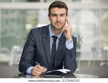 Portrait of the most handsome man in the world - stock photo