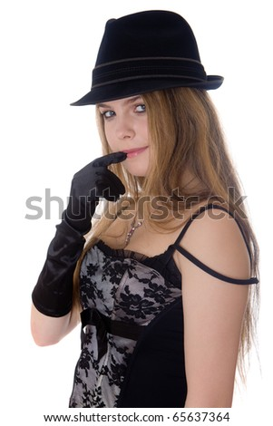 Portrait of the nice girl in a black hat