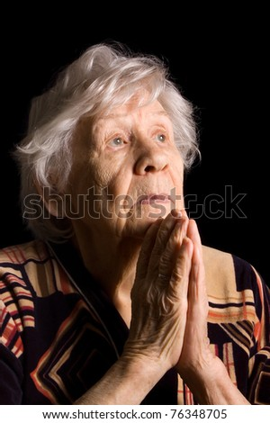Portrait of the old woman a black - stock photo