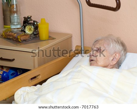 Portrait of the old woman at a nursing home.