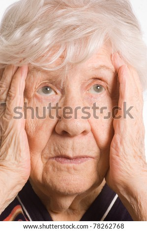 Portrait of the old woman closeup - stock photo