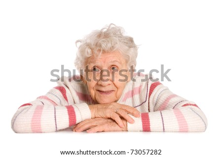 Portrait of the old woman isolated on white