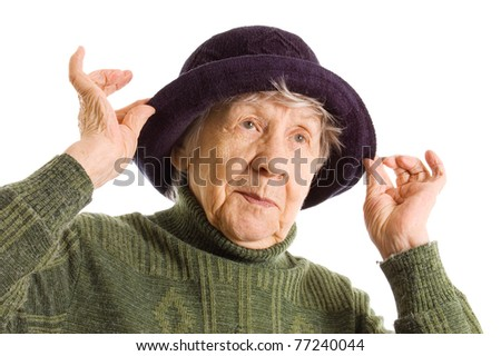 Portrait of the old woman isolated on white - stock photo