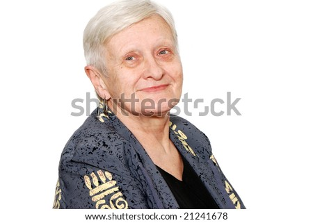 Portrait of the old woman on a light background - stock photo