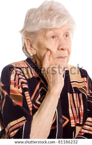 Portrait of the old woman on white - stock photo