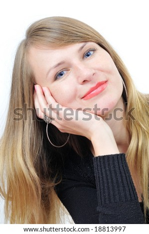 portrait of the pretty girl on white - stock photo