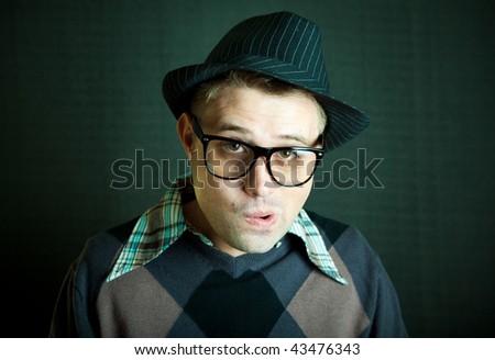 Portrait of the retro nerd guy - stock photo