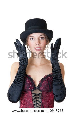Portrait of the sensual girl in a black hat