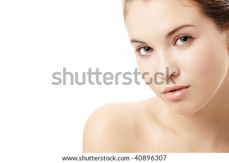Portrait of the sensual girl without a make-up, isolated on a white background - stock photo
