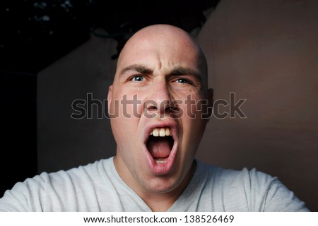 portrait of the shouting young man
