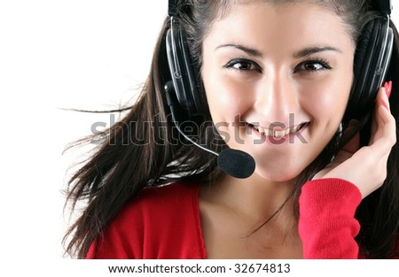 Portrait of the smiling receptionist in headset, isolated on a white background, please see some of my other parts of a images