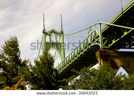 Portrait of the St. Johns bridge located in Portland, OR. - stock photo
