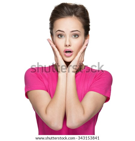Portrait of the surprised emotions  on woman face isolated on white background