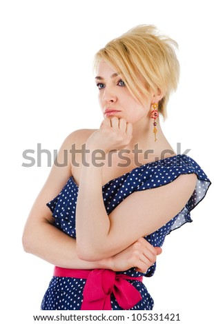 Portrait of the thinking woman. isolated on white background - stock photo