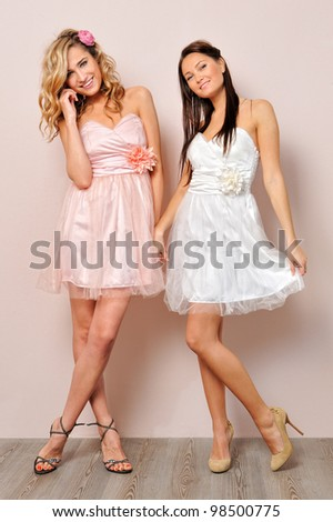 Portrait of the two beautiful woman in chic dresses.