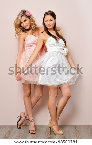 Portrait of the two beautiful woman in chic dresses. - stock photo