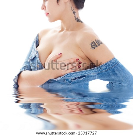 portrait of the woman with tattoo on white background