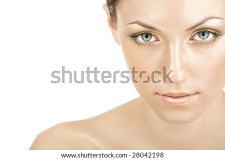 Portrait of the woman with the golden make-up, isolated - stock photo