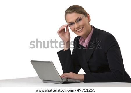 Portrait of the young attractive business woman in points on white background - stock photo
