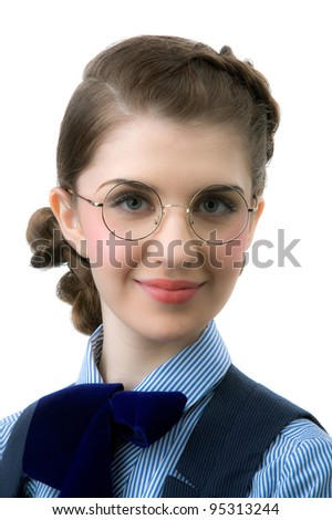 Portrait of the young beautiful girl in round glasses - stock photo