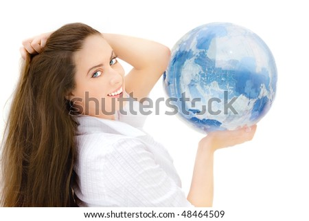 Portrait of the young beautiful girl with the blue globe in hand