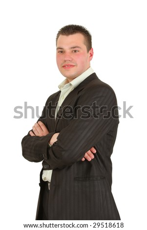 portrait of the young businessman on white background