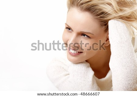 Portrait of the young girl on a white background - stock photo