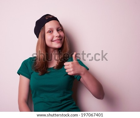 Portrait of the young rock teen girl, studio shot - stock photo