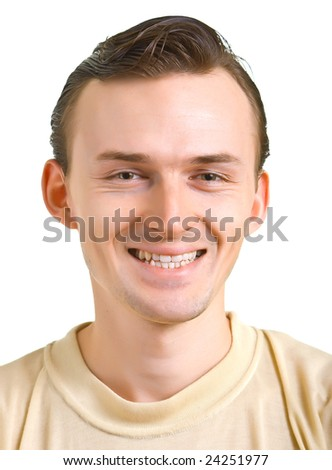 Portrait of the young smiling men on white background. Isolation