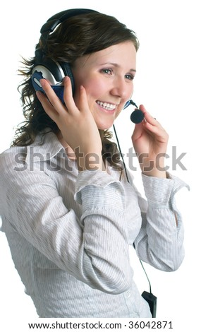 Portrait of the young smiling women in headphones. Isolation on a white background