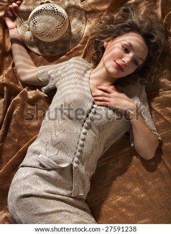 Portrait of the young woman - stock photo