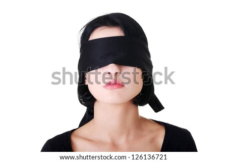 Portrait of the young woman blindfold , isolated on white - stock photo