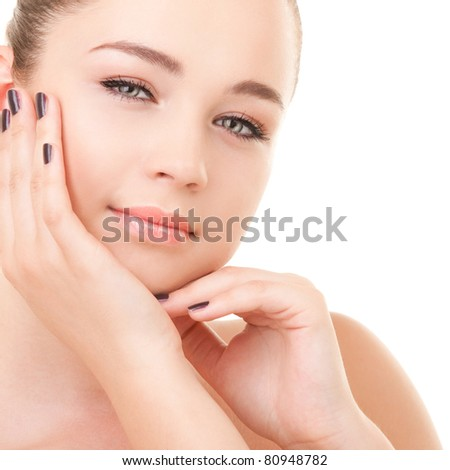 Portrait of the young woman isolated on white background - stock photo