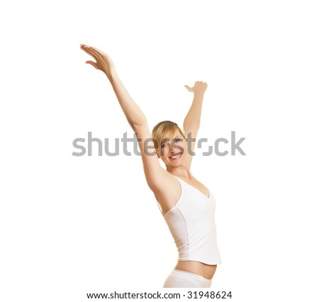 Portrait of the young woman with strong emotions on a white background - stock photo