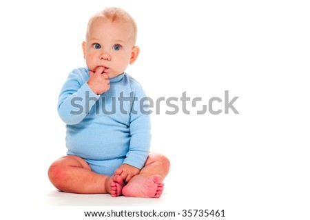 portrait of thinking baby boy - stock photo