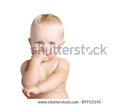 Portrait of thinking baby boy, isolated on white - stock photo