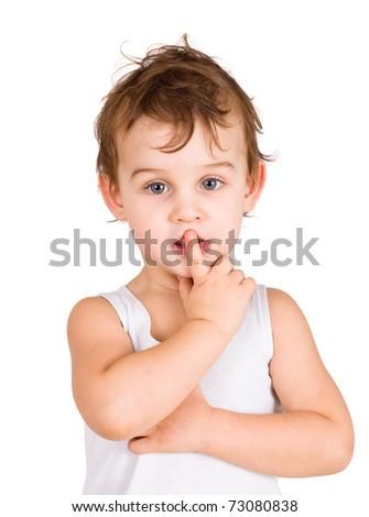 portrait of thinking boy - stock photo