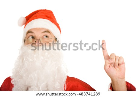 Portrait of thinking santa claus insticting
