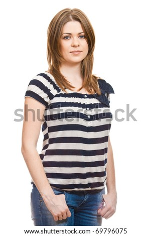 Portrait of thinking woman dressed in a striped blouse on  white background - stock photo