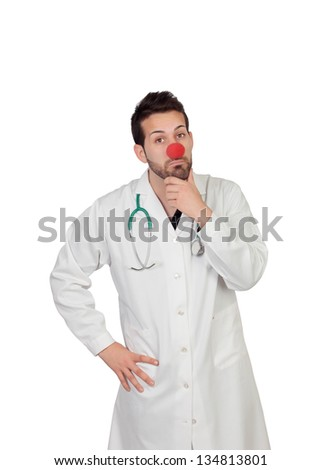 Portrait Of Thoughtful Clown Doctor Isolated Over White Background - stock photo
