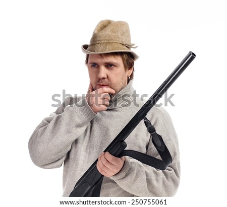 Portrait of thoughtful hunter isolated over white background - stock photo