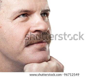 portrait of thoughtful mature caucasian man isolated on white background - stock photo