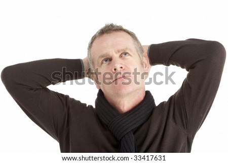Portrait Of Thoughtful Middle Aged Man - stock photo