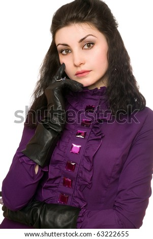 Portrait of thoughtful woman in a purple jacket